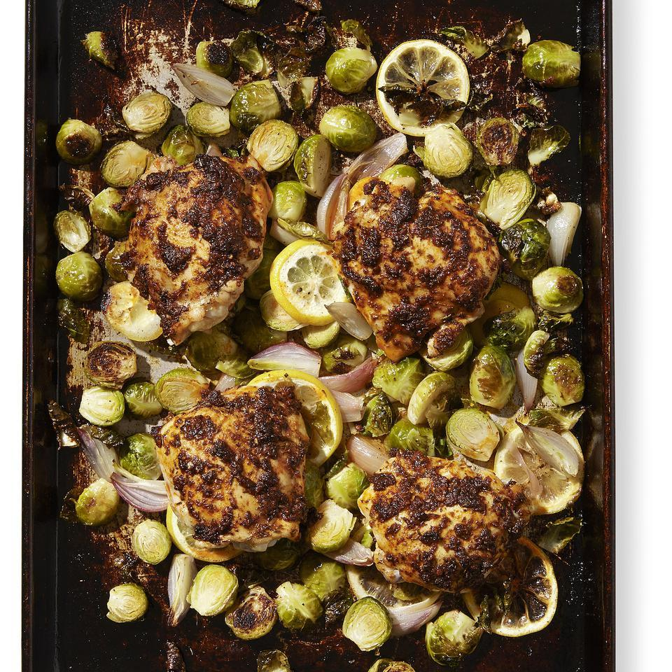 Paprika Chicken Thighs with Brussels Sprouts for Two EatingWell Test Kitchen
