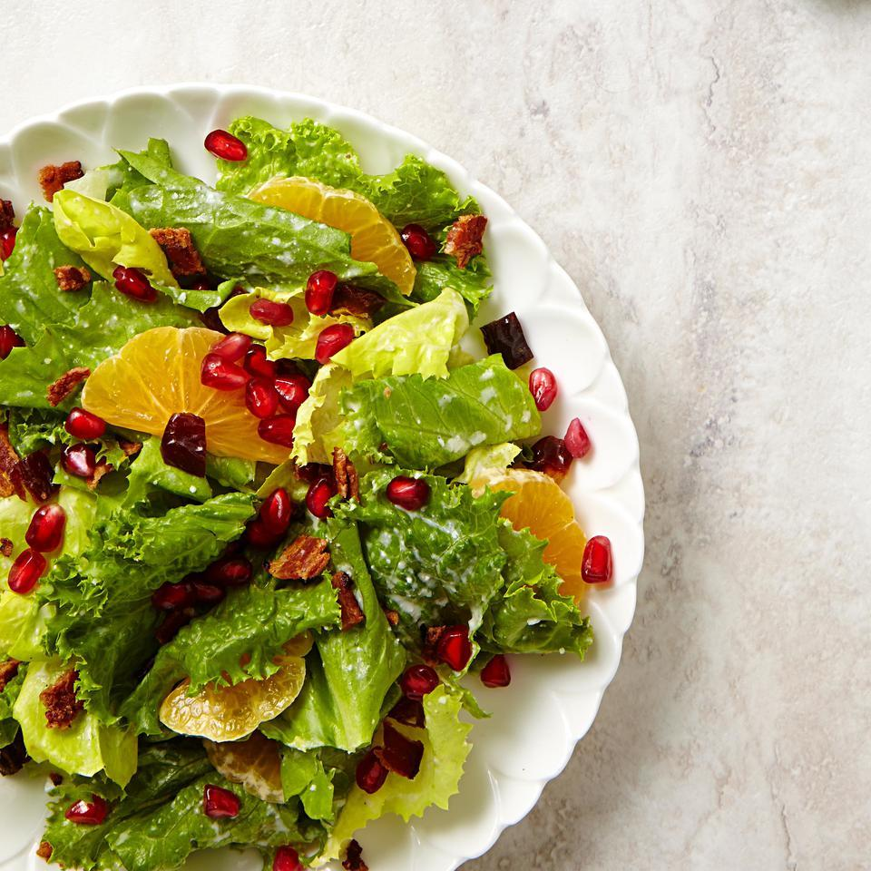 Jewel-like pomegranate seeds star along with bacon, tangy clementines and sweet dates for a pop of Christmas color.