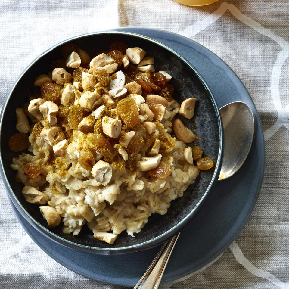 Pep up your morning routine with this not-so-old-fashioned savory oatmeal recipe with cashews, curry powder and raisins. If you need a little sweetness, try drizzling honey on top. Short on time in the morning? Try our overnight oatmeal variation.