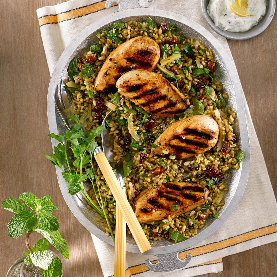 Grilled Chicken Salad with Freekeh, Preserved Lemon & Dried Cherries Diana Henry