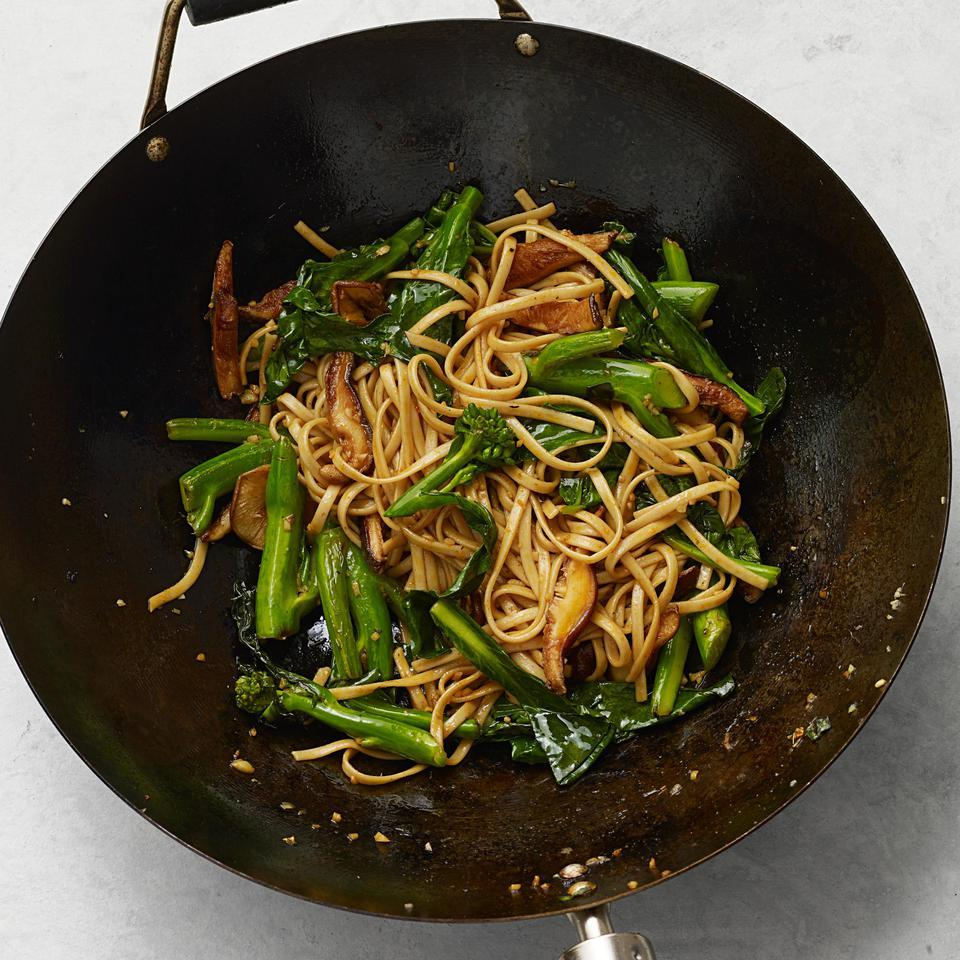 Skip takeout and make a healthier Chinese lo mein at home that's packed with vegetables. Make sure you drain your noodles well before adding them, as wet noodles will turn your stir-fry into a soggy mess. For a less spicy option, omit the sriracha hot sauce.