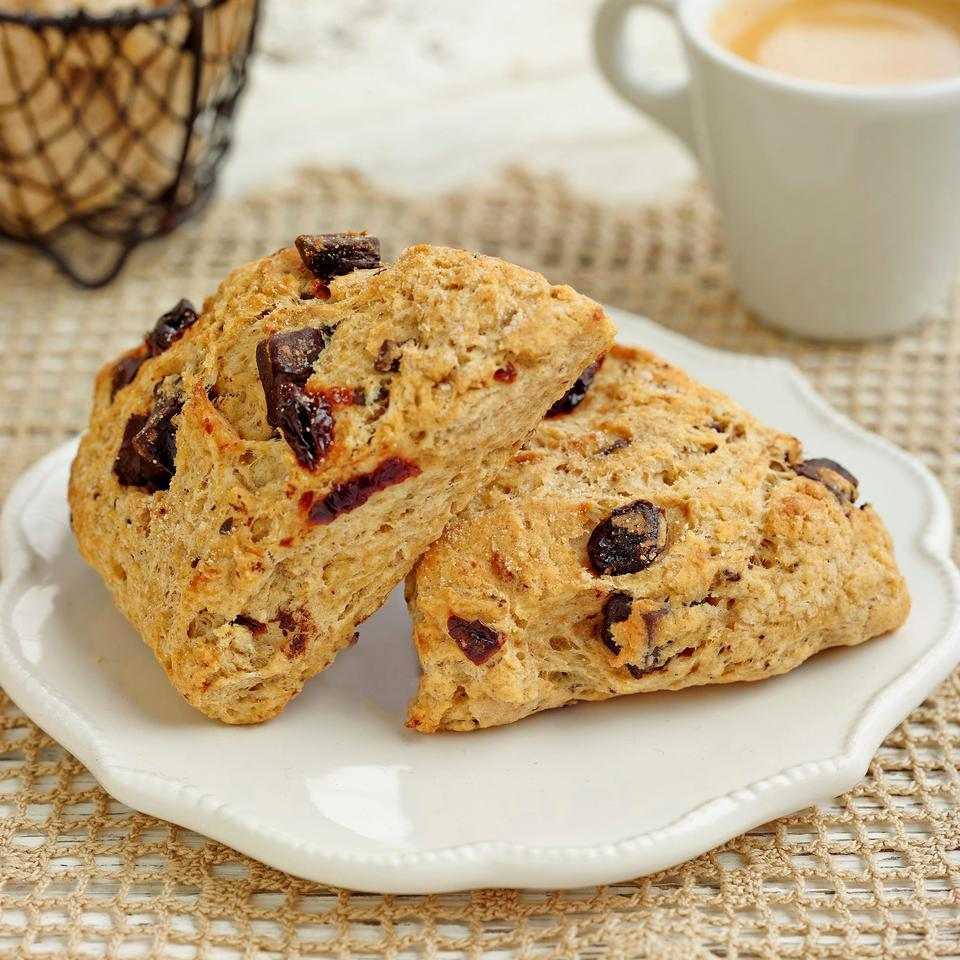 No bakery degree required for this recipe: these healthy chocolate-and-cherry scones are as easy to make as a batch of muffins. White whole-wheat flour adds a boost of fiber, and just enough butter gives them great flavor and texture without going overboard on calories. For a sweeter scone, drizzle with the optional scone glaze.