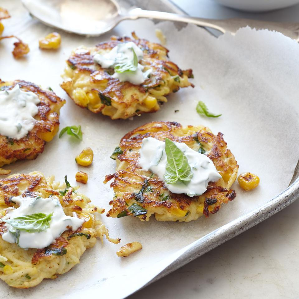 Kohlrabi-Corn Fritters with Herbed Yogurt Sauce EatingWell Test Kitchen