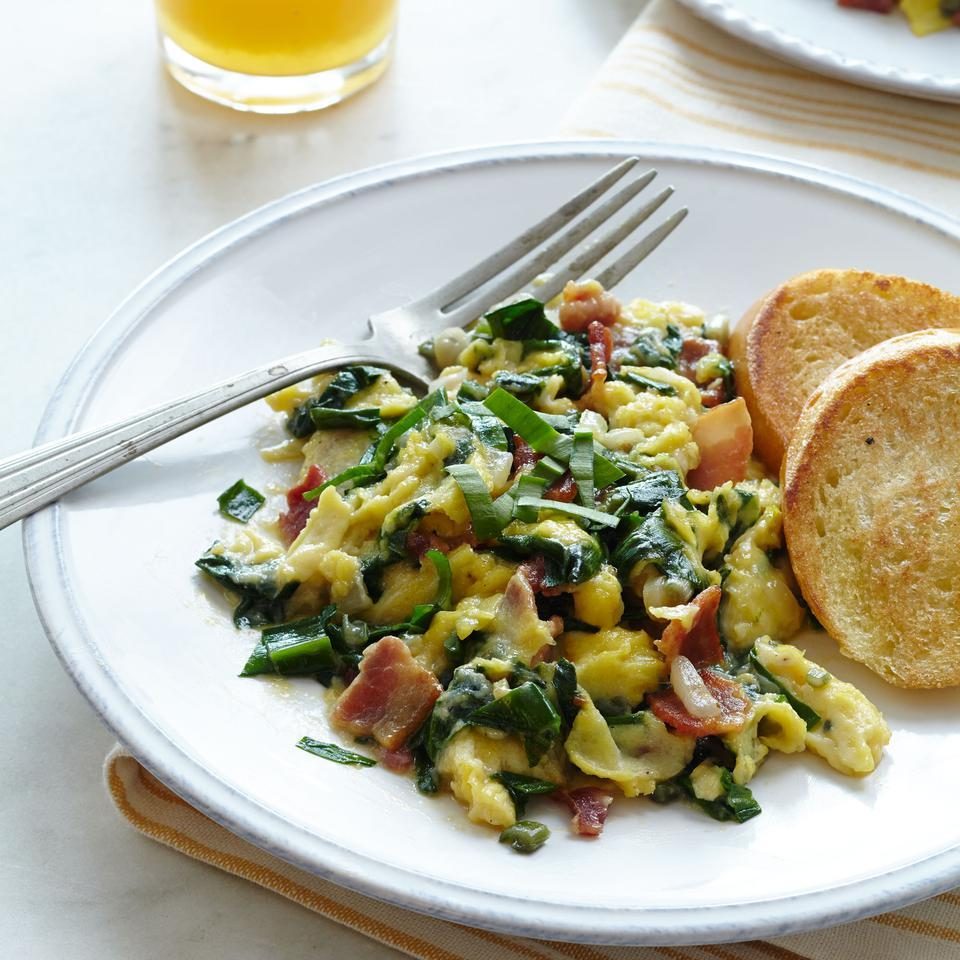 Scrambled Eggs with Ramps & Bacon EatingWell Test Kitchen