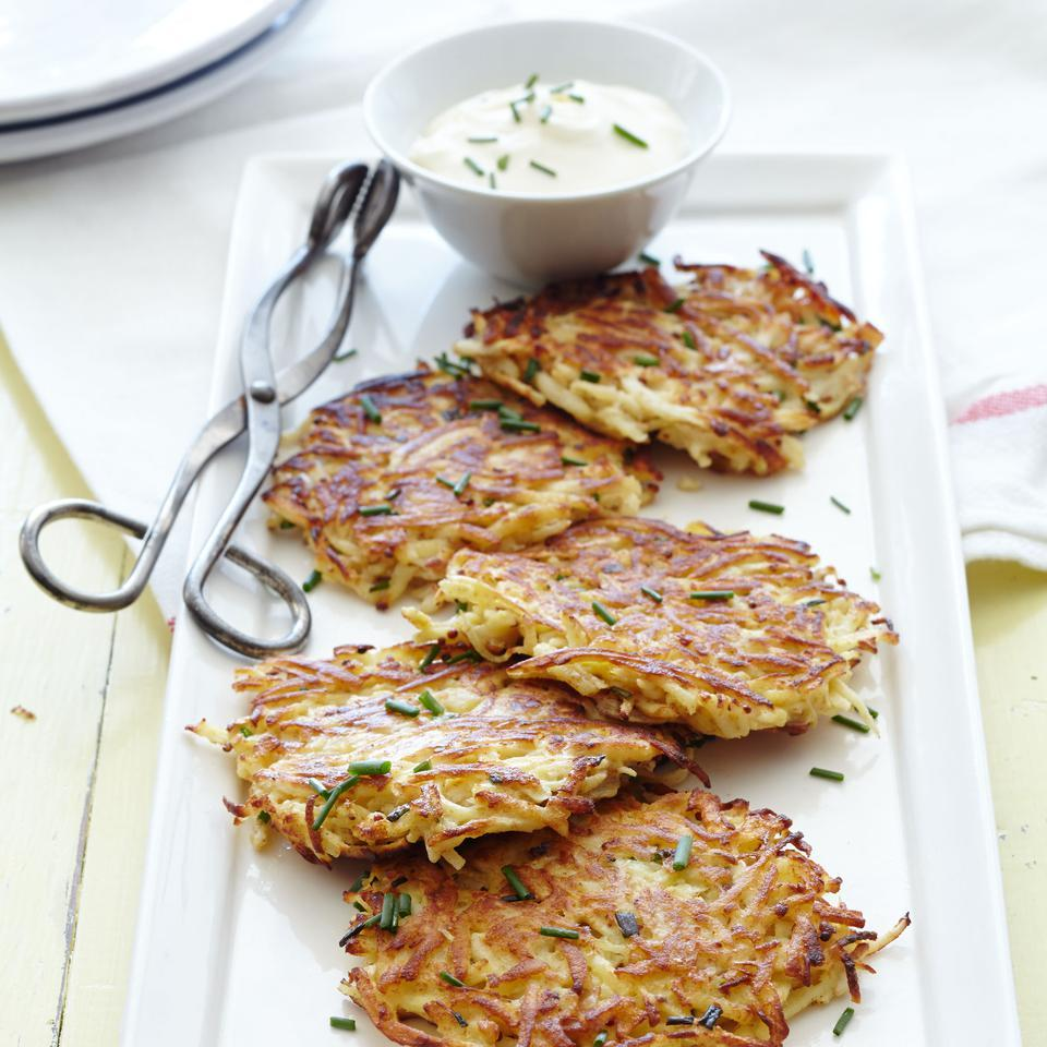 Parsnip-Celery Root Pancakes with Pancetta EatingWell Test Kitchen
