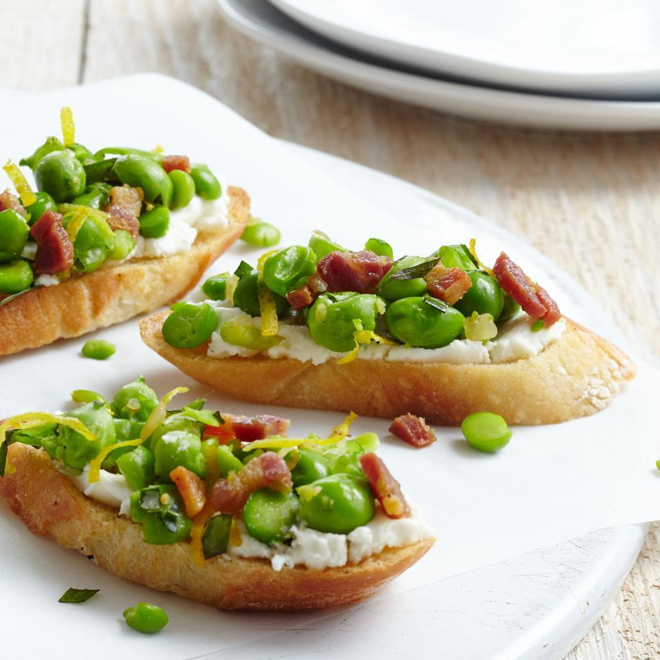 Up your healthy appetizer game and make this veggie-topped crostini recipe instead of go-to bruschetta. If you can't find tarragon, any soft herb, such as basil or dill, works well too.