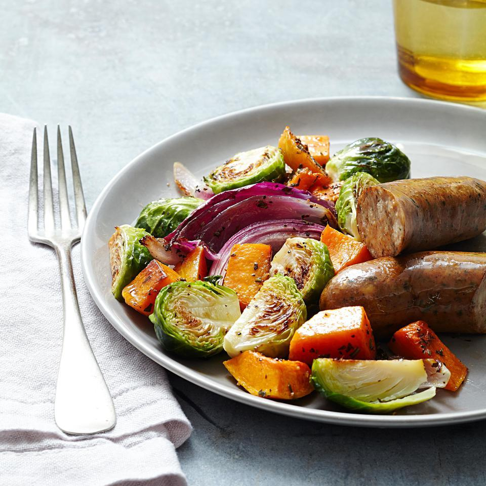 Roasted Autumn Vegetables & Chicken Sausage EatingWell Test Kitchen