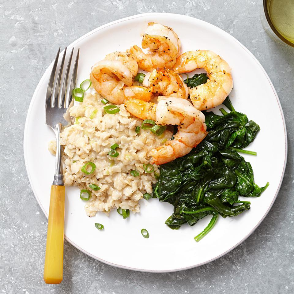 Two-Pepper Shrimp with Creamy Pecorino Oats Lia Huber