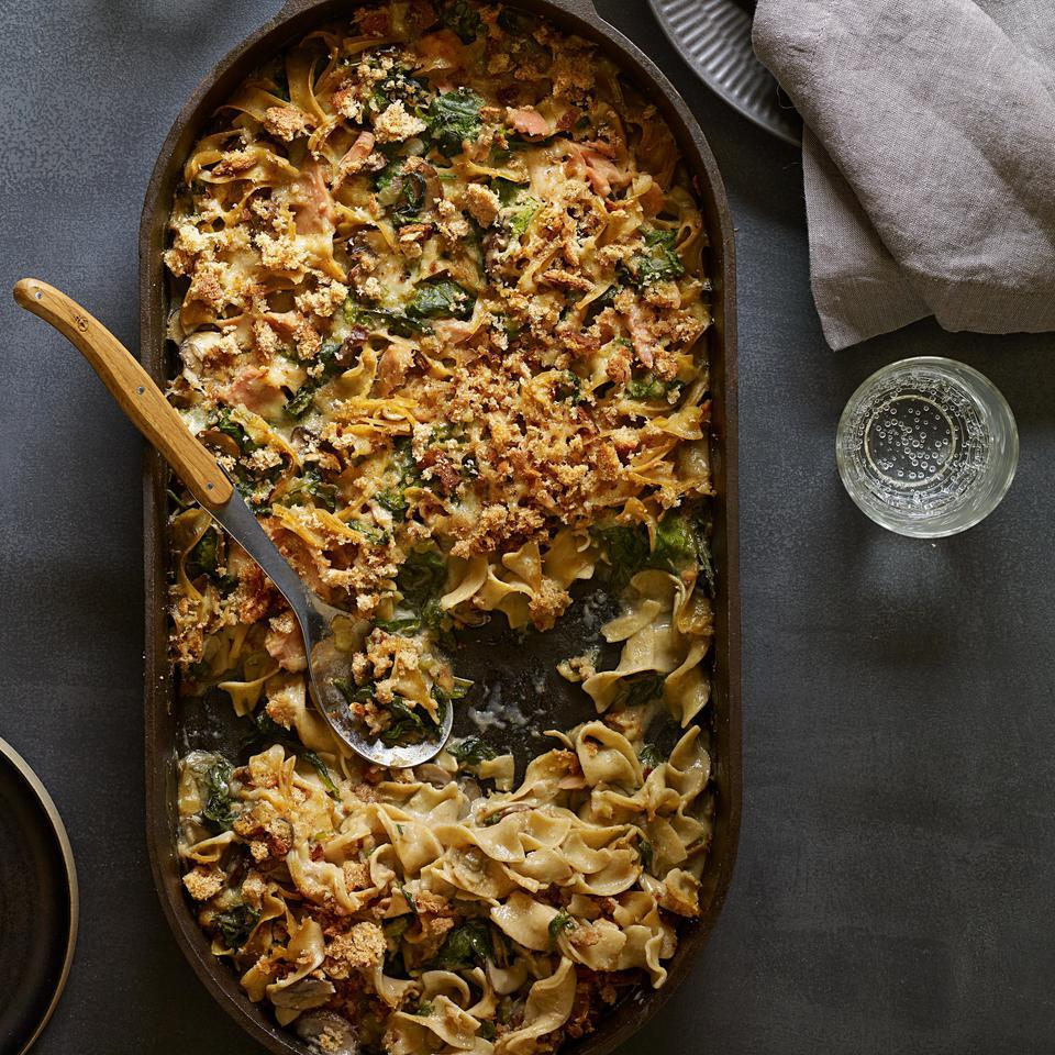 Homemade mushroom sauce kicks the can of soup out of the picture in this veggie-centric, healthy riff on a classic tuna-noodle casserole recipe. Serve with steamed green beans.
