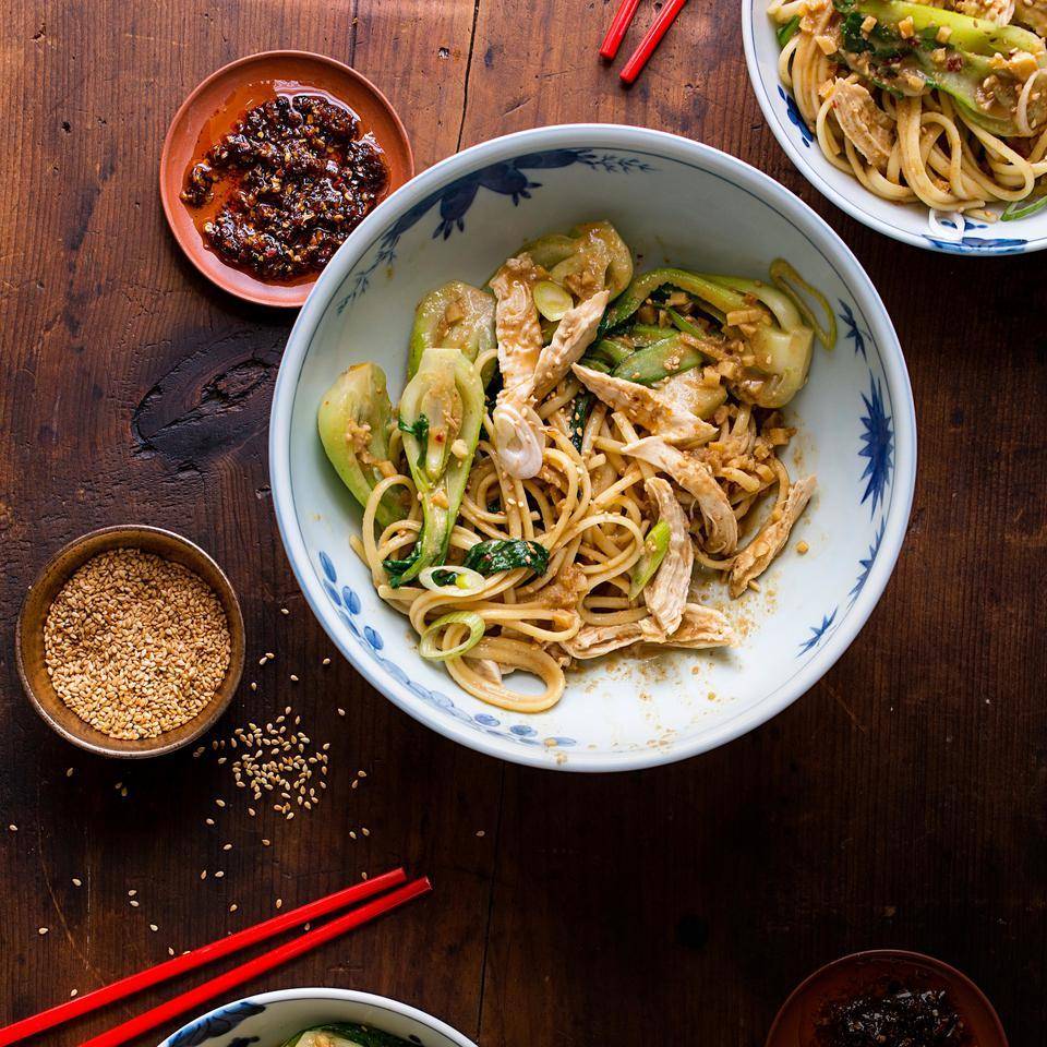In this Asian dan dan peanut noodle recipe, Chinese black vinegar lends authentic flavor to the creamy sauce. If you can't find baby bok choy, use about 1 pound of mature bok choy sliced into 1- to 2-inch strips. Serve with your favorite hot sauce, such as sriracha, if desired.
