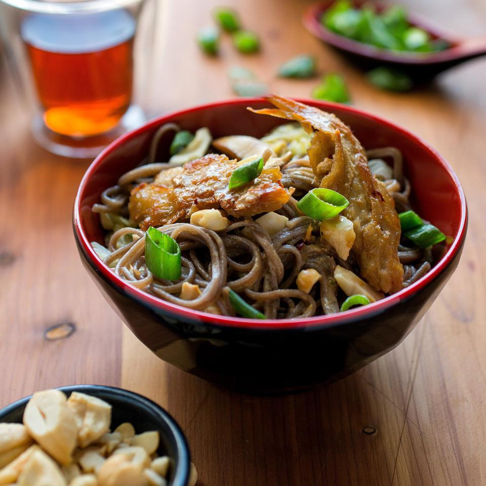 Dan Dan Noodles with Seitan, Shiitake, Mushrooms & Napa Cabbage