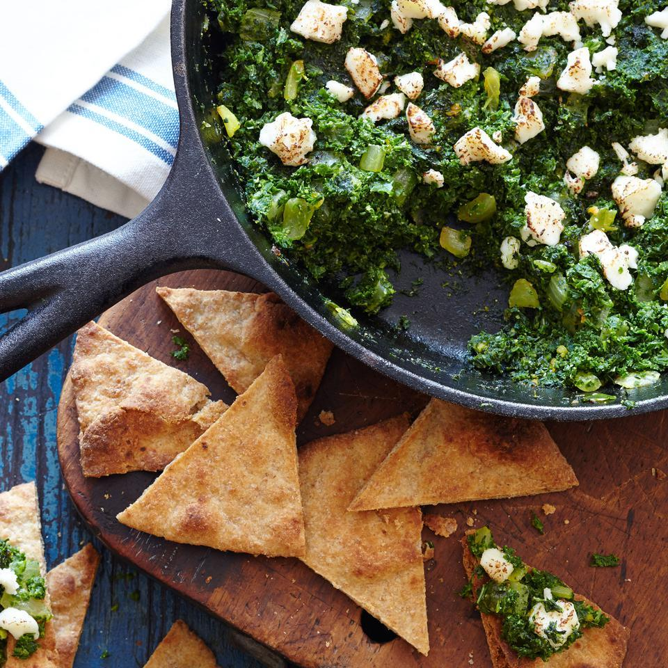Indian-Style Mustard Greens & Kale with Toasted Naan EatingWell Test Kitchen