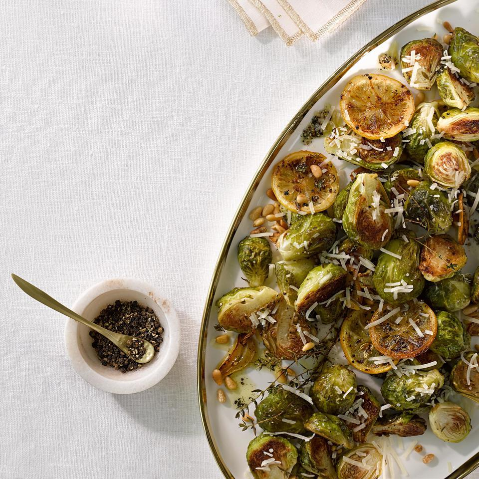 Speed up roasting vegetables, like these lemon-and-thyme-infused Brussels sprouts, by cooking them on two large baking sheets instead of just one. This basic roasting technique also works for other root vegetables such as carrots, parsnips and potatoes.
