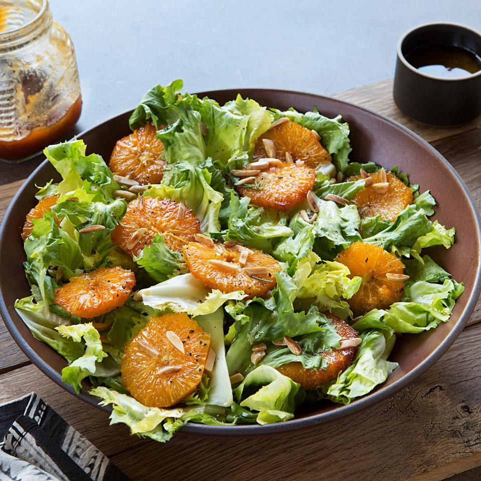 "The oranges in this healthy salad recipe are caramelized in honey and not actually ""burnt."" The result is a citrus flavor that's more complex than just slicing the fruit onto your greens."