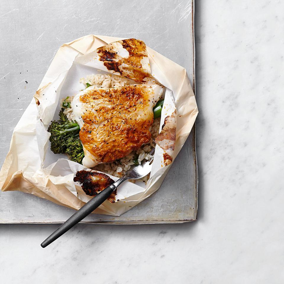 Gochujang-Glazed Cod & Broccolini Packets EatingWell Test Kitchen