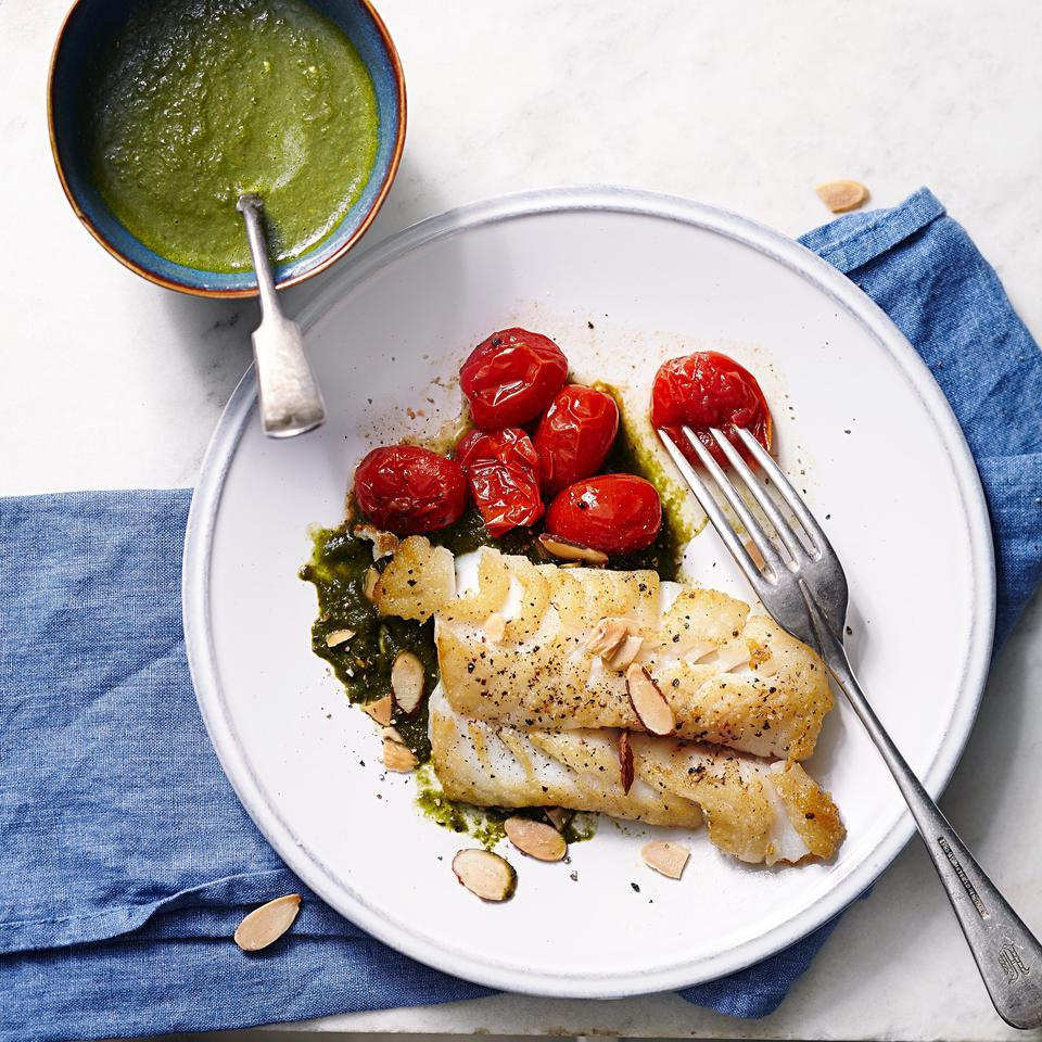 Seared Cod with Spinach-Lemon Sauce EatingWell Test Kitchen