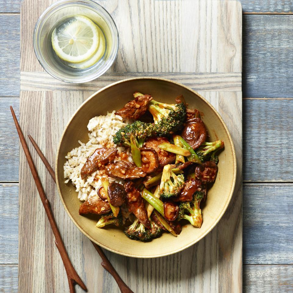 This healthy beef and broccoli stir-fry recipe has a Korean-inspired gochujang sauce. Because stir-fries cook up quickly, have all the ingredients prepped and next to the stove before you turn on the heat. Serve over brown rice or rice noodles.