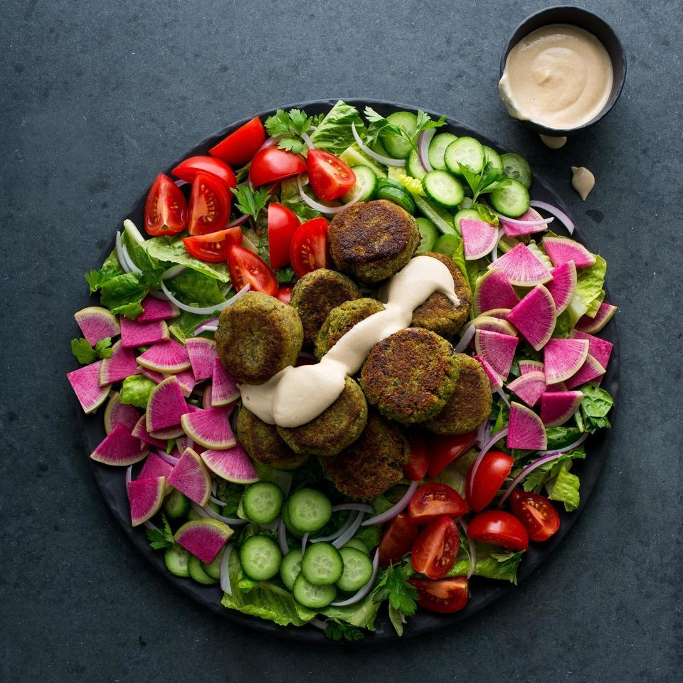 Deep-fried falafel can be a total grease bomb. But these pan-seared falafel still get crispy in just a few tablespoons of oil with equally satisfying results. Be sure to use dried, instead of canned, chickpeas in this healthy recipe—canned chickpeas add too much moisture.
