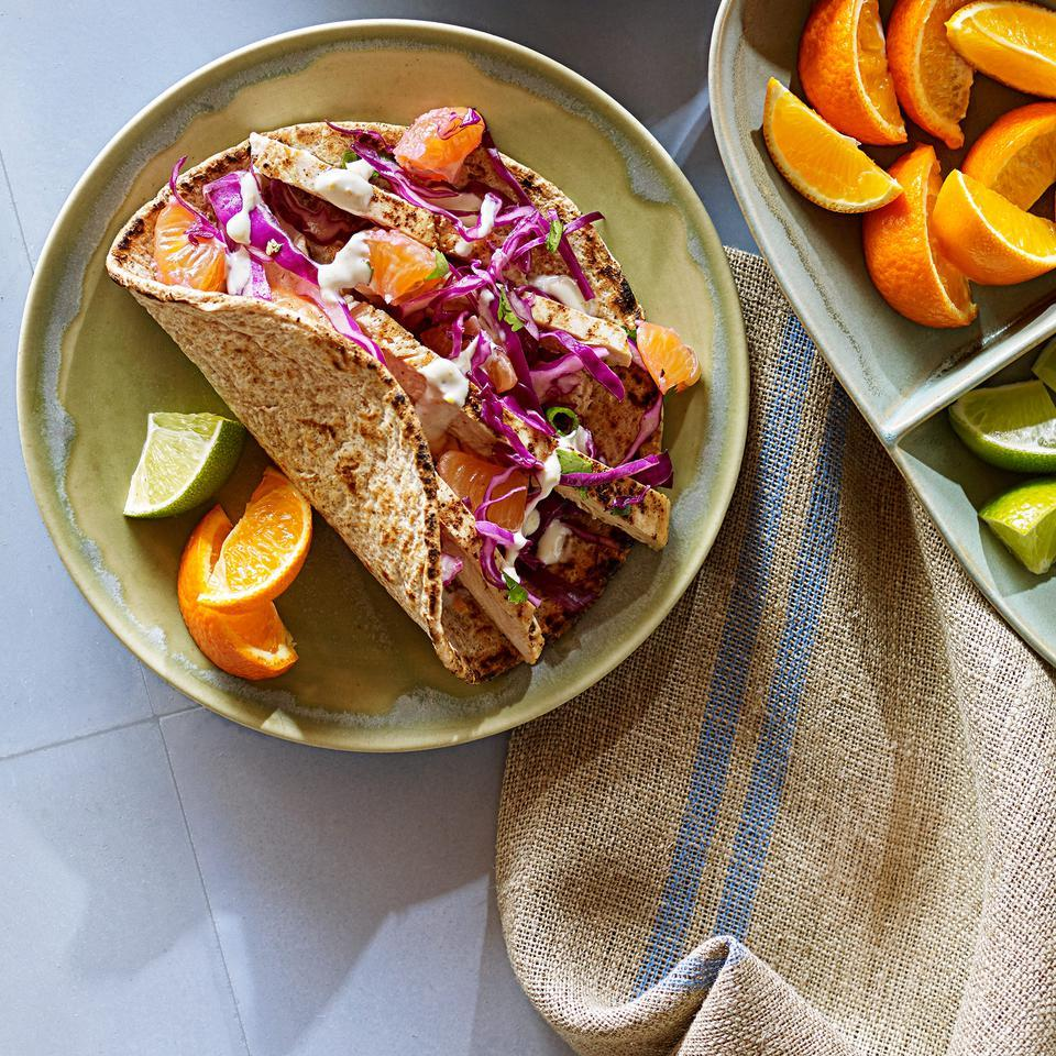Chicken Tacos with Tangerine-Lime Crema Laraine Perri
