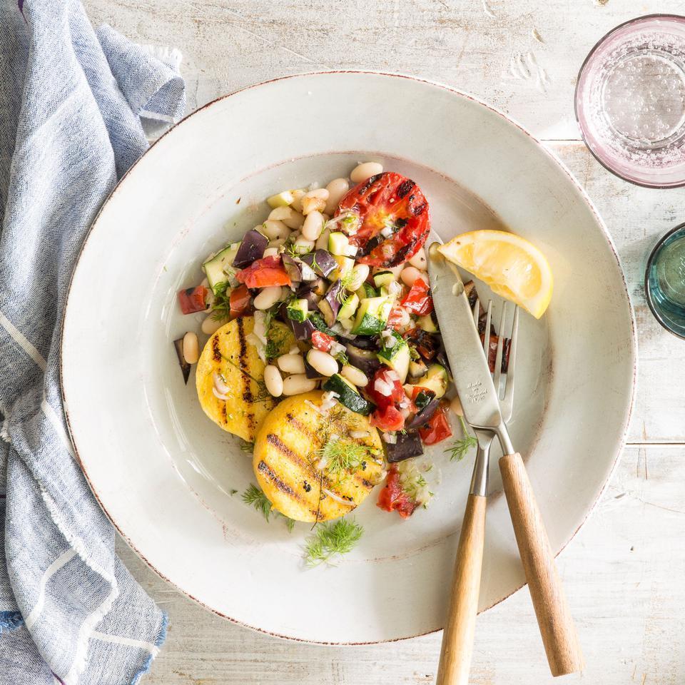 Grilled Polenta & Vegetables with Lemon-Caper Vinaigrette EatingWell Test Kitchen