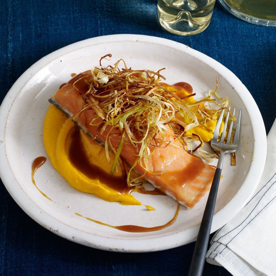Slow-Roasted Salmon with Soy-Caramel Sauce, Carrot Puree & Crispy Leeks Becky Selengut