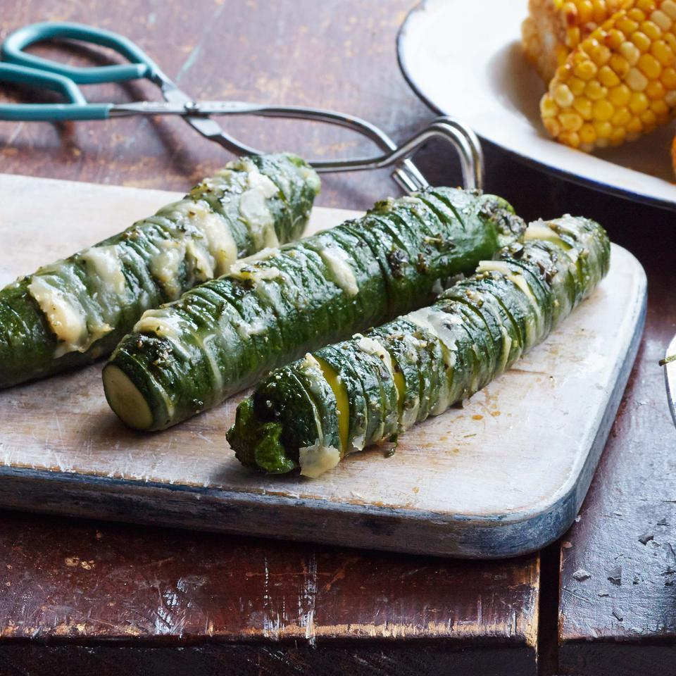 Garlic-Parmesan Hasselback Zucchini EatingWell Test Kitchen