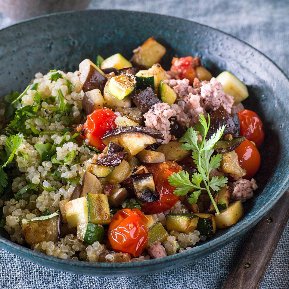 Roasted Eggplant, Zucchini & Pork Bowls Andrea Bemis
