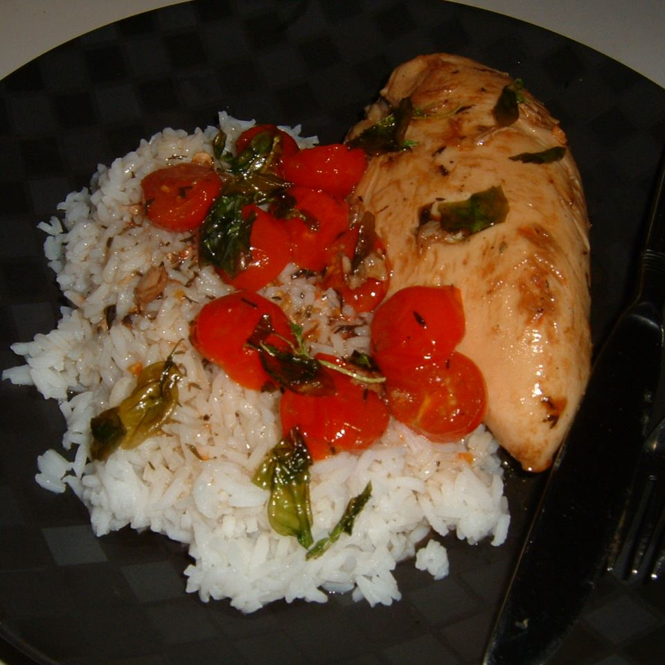 Chicken with Grape Tomatoes and Fried Basil Caroline C