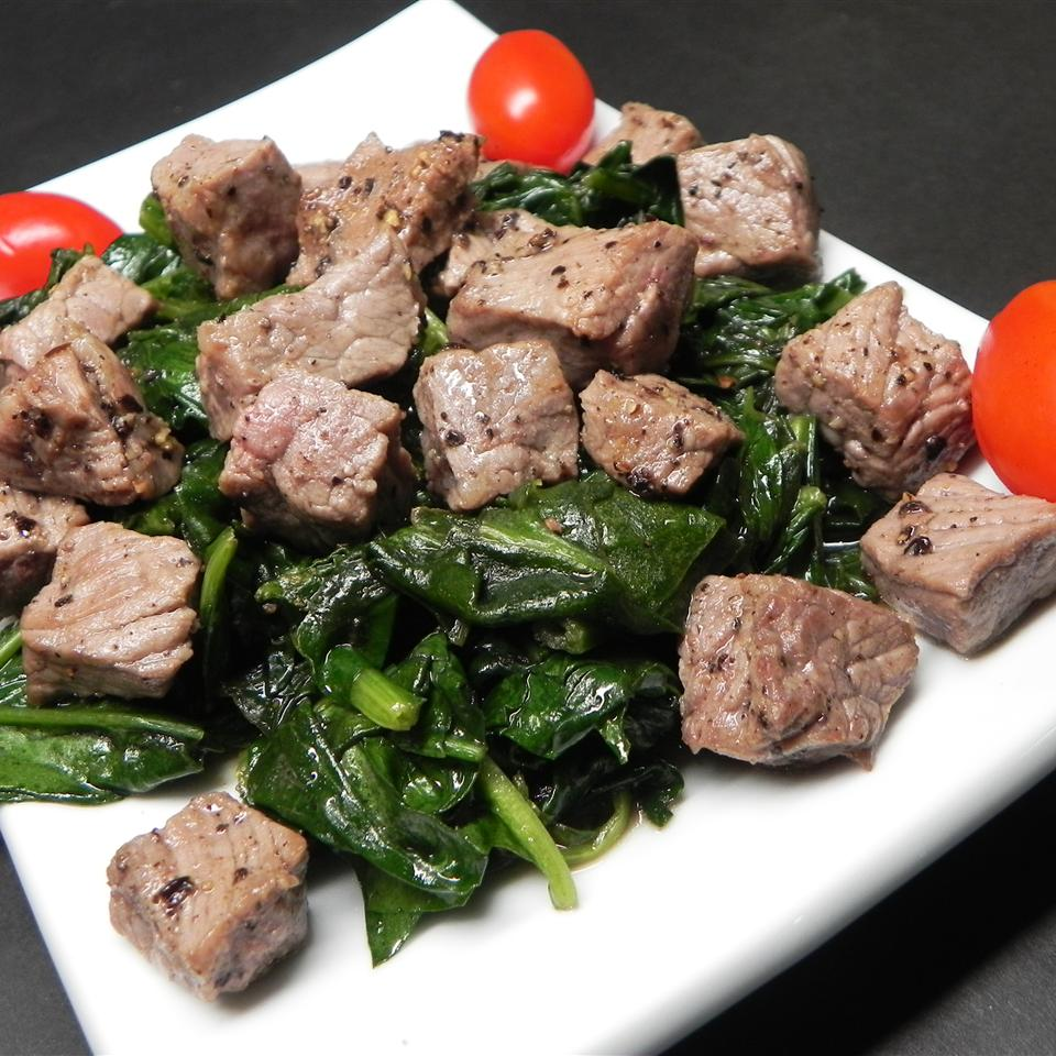 Kosher Wine and Pepper Steaks with Chard