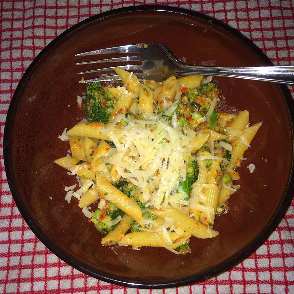 Penne with Red Pepper Sauce and Broccoli Ty.Thomas