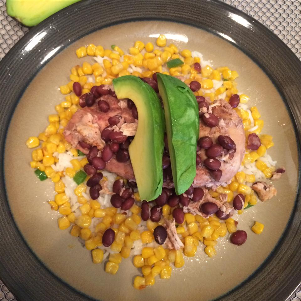 Coconut Lime Rice Bowl with Roasted Corn, Jalapenos, and Chicken Laurie Kilpatrick