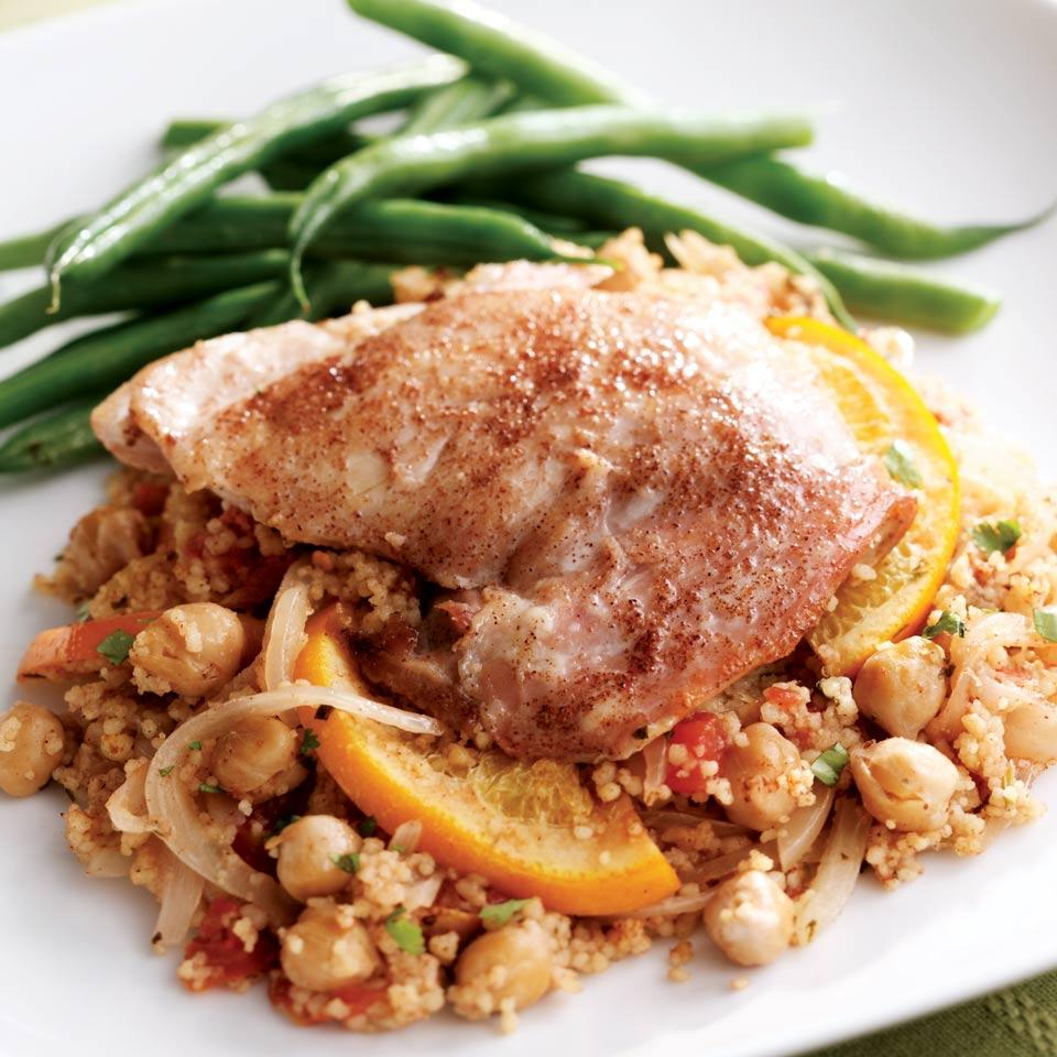 Orange-Tomato Couscous with Chicken EatingWell Test Kitchen