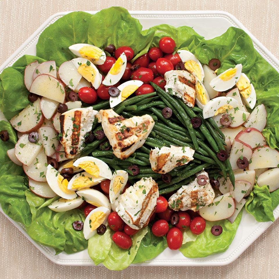 Grilled Halibut Salad Nicoise EatingWell Test Kitchen