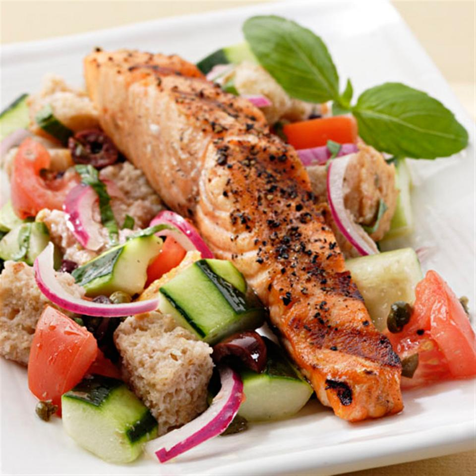 Salmon Panzanella EatingWell Test Kitchen