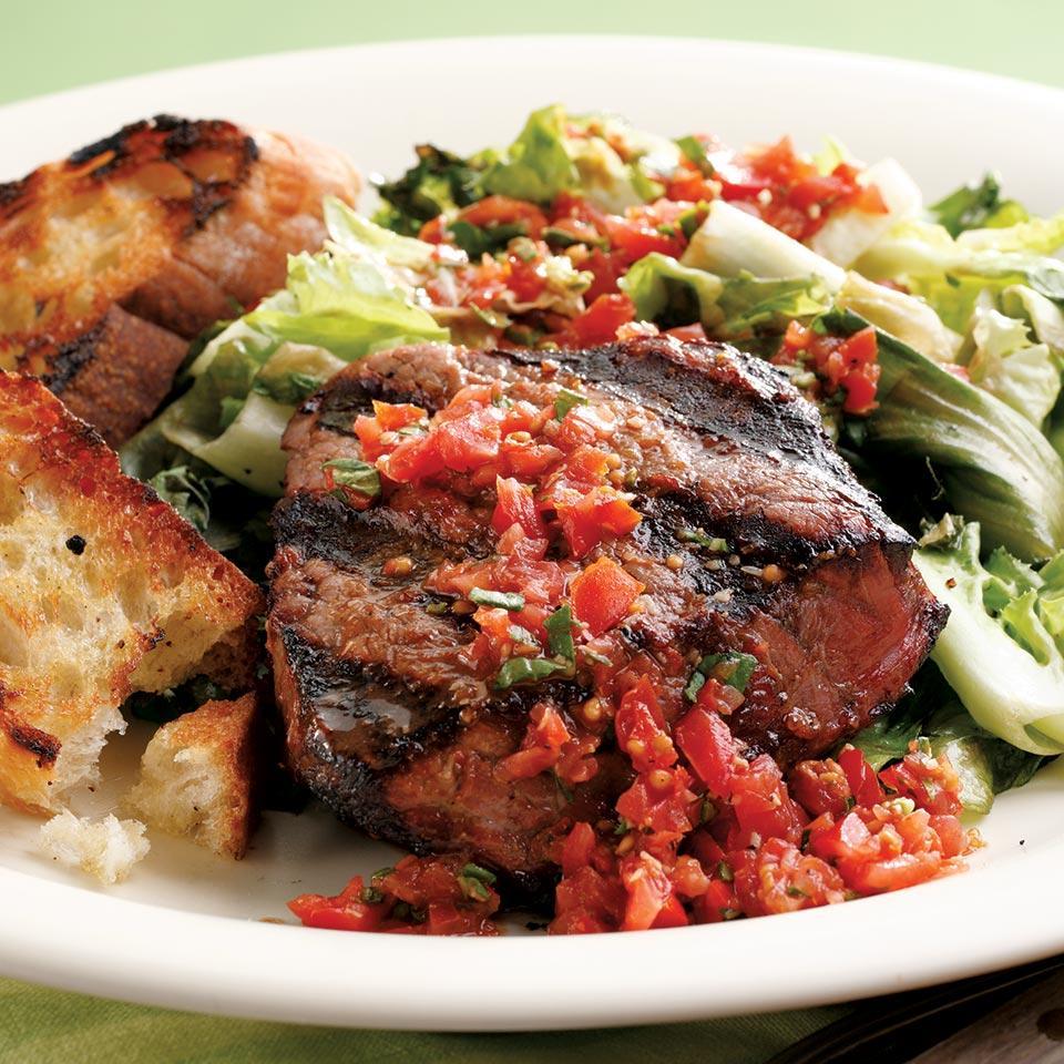 Grilled Beef Tenderloin & Escarole EatingWell Test Kitchen