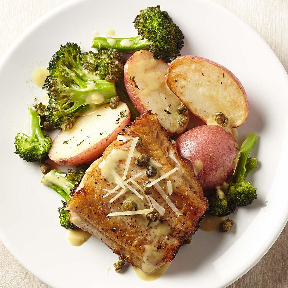 Lemon-Caper Black Cod with Broccoli & Potatoes Sara Haas, R.D.N., L.D.N.