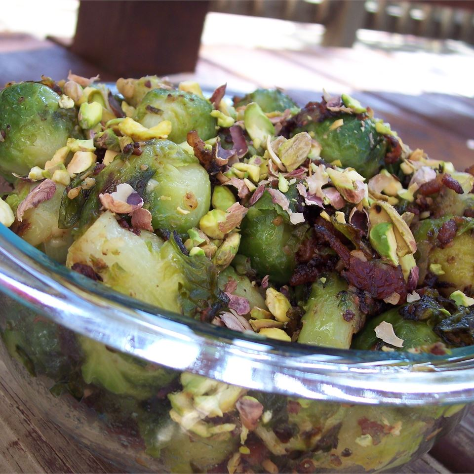 Caramelized Brussels Sprouts with Pistachios - Printer Friendly
