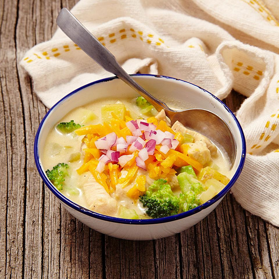 In this healthy broccoli-Cheddar-chicken chowder recipe, heavy cream is replaced with milk and flour-thickened chicken broth and we keep sodium amounts reasonable with lower-sodium broth. By making your own homemade creamy broccoli, Cheddar and chicken chowder, you'll save up to 300 calories, 20 grams of saturated fat and 500 milligrams of sodium per serving compared to many store-bought or restaurant chowders.