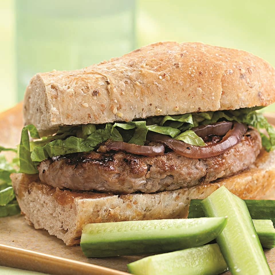 Mango chutney and grilled red onion flavor this quick turkey burger. Serve with grilled baby red potatoes and a frosty beer.