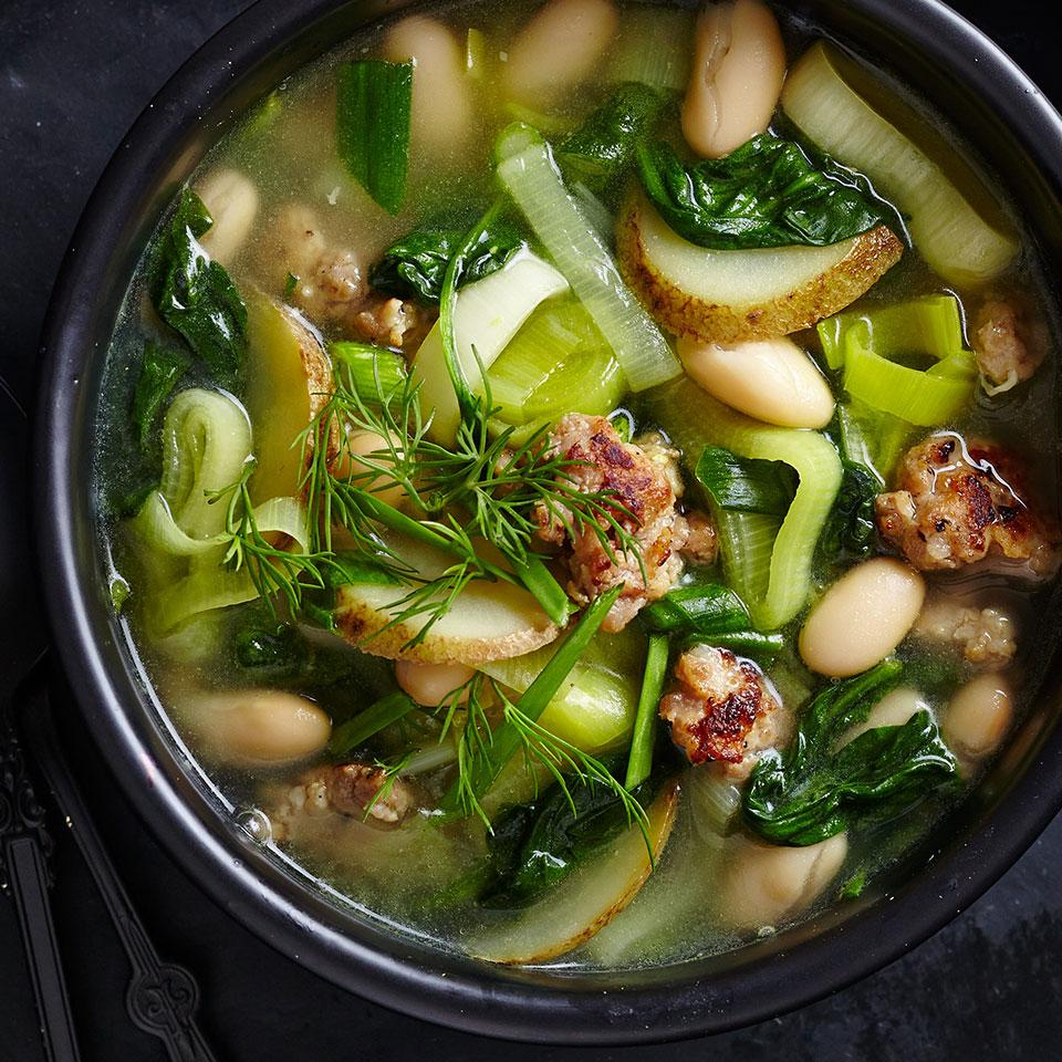 For this light, brothy stew, use the vegetables of late spring and early summer from your CSA share: leeks, potatoes, garlic and spinach. Vary what's in the stew according to the weekly bounty.
