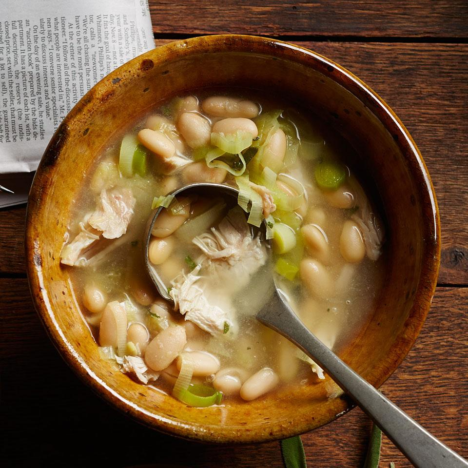 Once again, rotisserie chickens can really relieve the dinner-rush pressure-especially in this Italian-inspired soup that cries out for a piece of crusty bread and a glass of red wine.