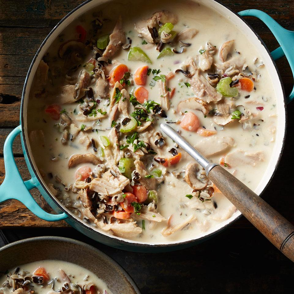Got leftover cooked chicken or turkey? Cook up a pot of soup! This recipe is a healthier twist on a classic creamy turkey and wild rice soup that hails from Minnesota. Serve with a crisp romaine salad and whole-grain bread.
