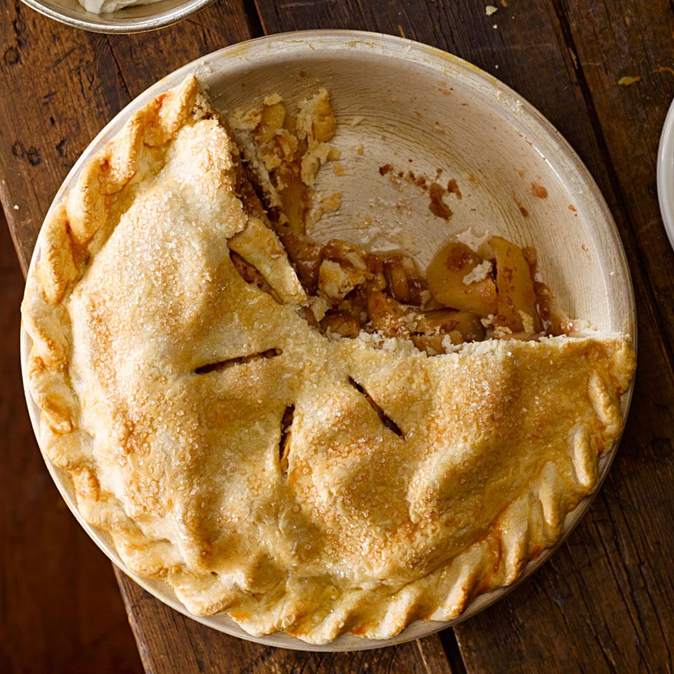 In this healthy apple pie recipe, a touch of maple syrup spiked with lemon zest, cinnamon and ground ginger coats the apples while they bake. Serve this amazing homemade pie with lightly sweetened whipped cream or a small scoop of vanilla ice cream.