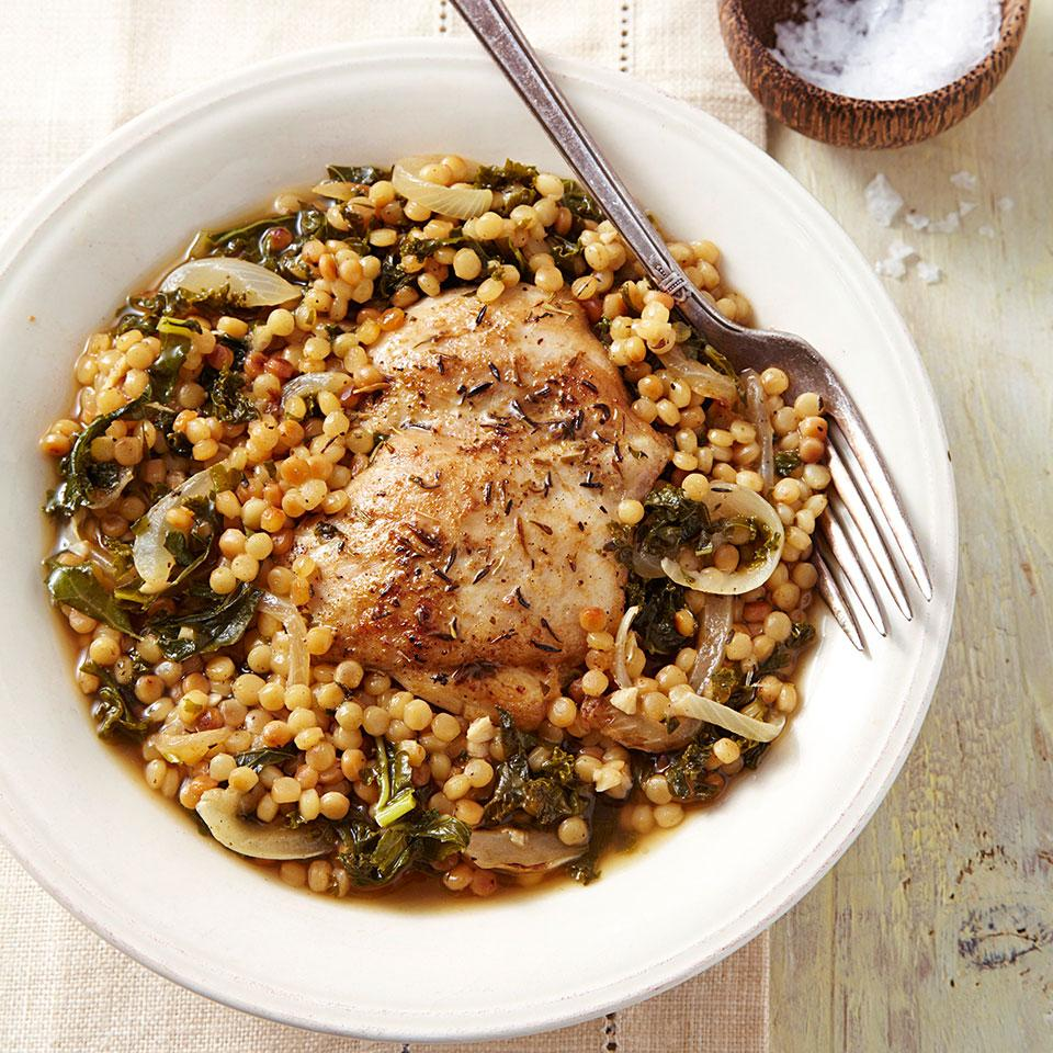 Chicken Thighs with Couscous & Kale EatingWell Test Kitchen