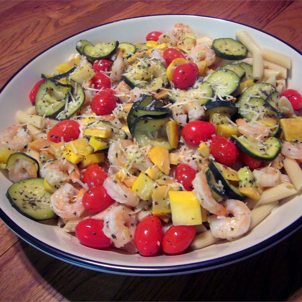 Shrimp with Penne and Squash