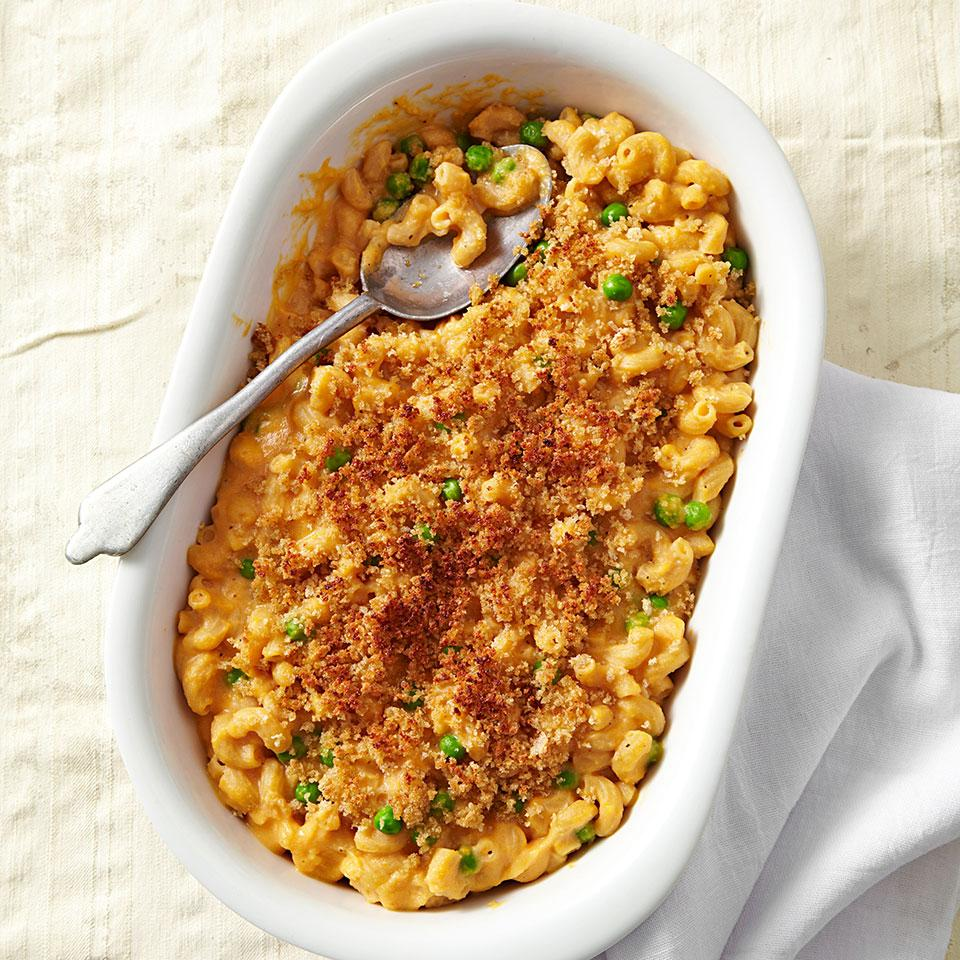 Fiber-rich sweet potato is used as the base for the cheese sauce in this healthy, homemade macaroni and cheese recipe. The bright orange color tricks your eyes into thinking this healthy macaroni and cheese recipe is loaded with cheese, but there's actually only about half as much cheese as compared to a traditional recipe.