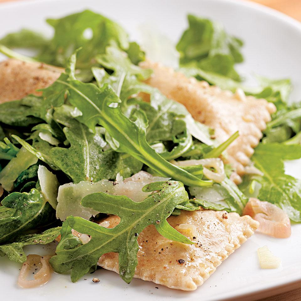 Elevate frozen ravioli with sizzled garlic and shallots, shaved pecorino and fresh arugula. Serve with: Whole-grain baguette and a light-bodied red wine, such as pinot noir.