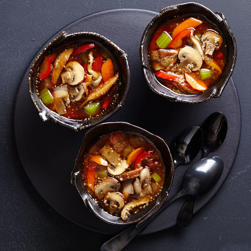 A bit reminiscent of old-fashioned mushroom-barley soup, this vegetarian quinoa mushroom soup recipe gets a modern update with nutrient-packed quinoa. A mix of fresh mushrooms and dried porcini boosts the savory flavor. Serve with whole-wheat dinner rolls.