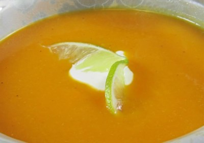 Curried Butternut Squash Soup with Lime Cream