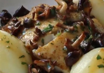 Pan-Roasted Halibut with Clamshell Mushrooms and Lemon Butter Sauce